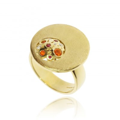 18ct yellow gold olourful stone ring mixed stones opal rucy diamond ring brushed statement ring circle