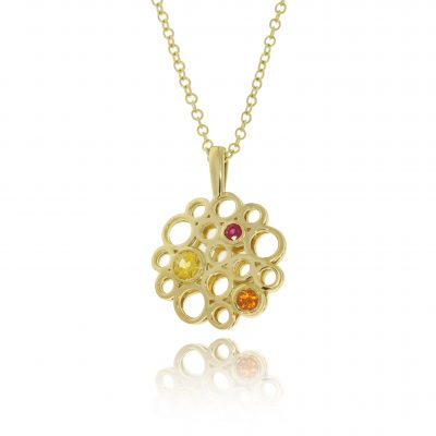 coloured sapphire 18ct yellow gold holes cut out pendant statement necklace