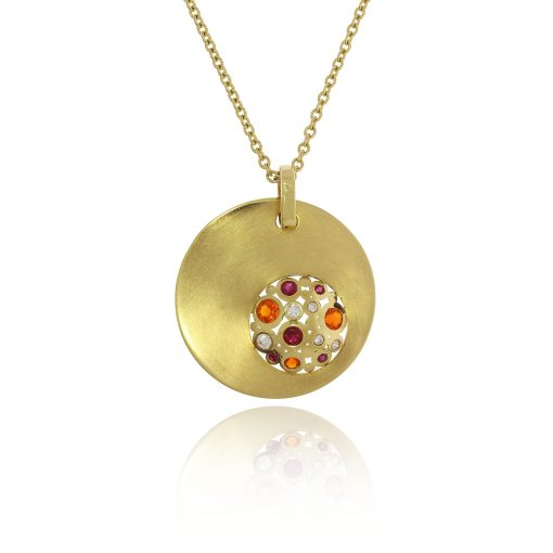 medium unusual matte multi coloured 18ct yellow ruby fire opal necklace