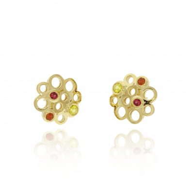 18ct yellow gold mixed stone coloured stone sapphires studs earrings statement