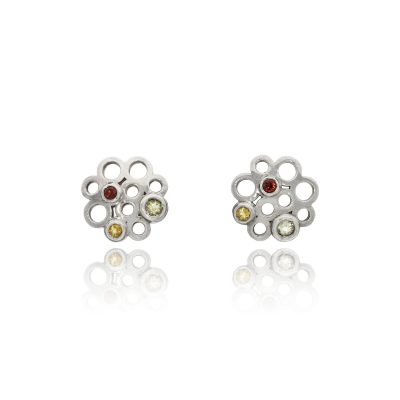Silver mixed stone garnet beryl citrine stud earrings
