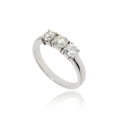 Classic traditional three diamond engagement modern ring all the same size