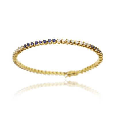 diamond sapphire tennis bracelet 18ct yellow gold blue stone bracelet