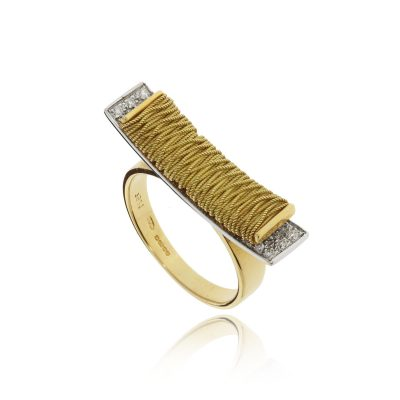 18ct yellow gold woven statement ring diamond either side cluster unusual ring