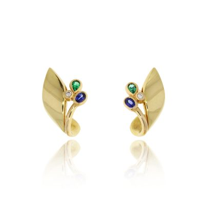 18ct yellow gold unusual statement leaf studs earrings sapphire emerald diamond shaped fit folded around ear