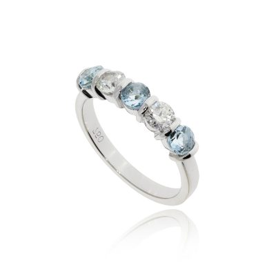 Five stone aqua pastel blue diamond half etenity ring