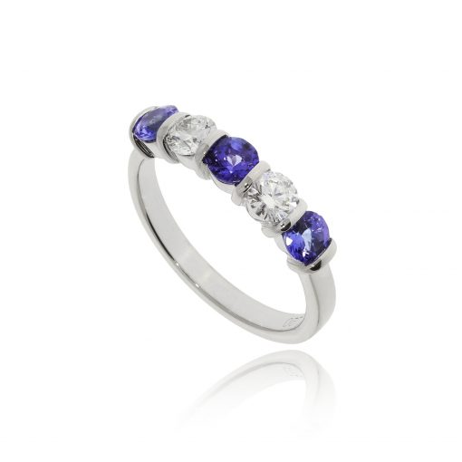Five stone navy dark tanzanite blue diamond half etenity ring