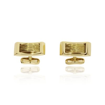 18ct yellow gold woven gold strand cufflinks hinged polished