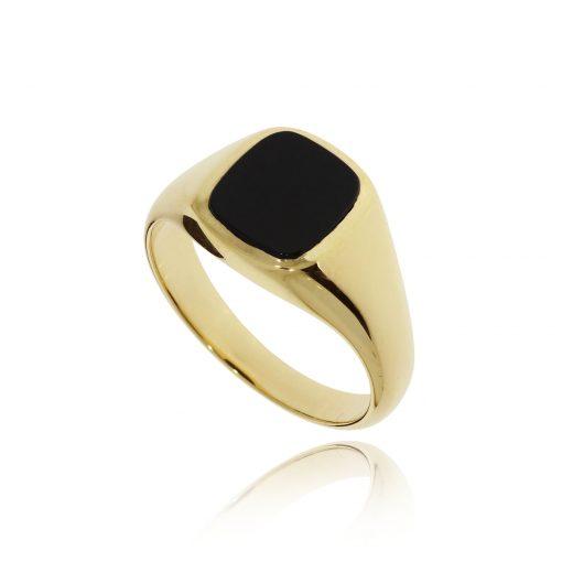 Black onyx cushion cut signet ring yellow gold ring 9ct