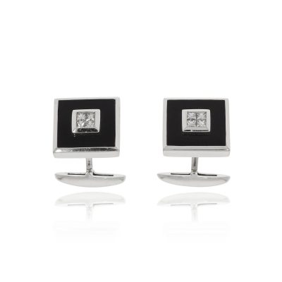 white gold square princess cut diamonds onyx cufflinks