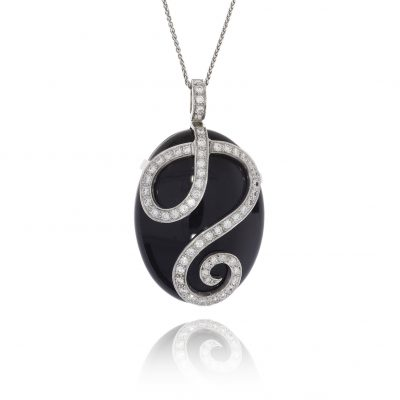 Black onyx diamond pendant polished black pebble necklace diamond swirl diamond spiral 18ct white gold