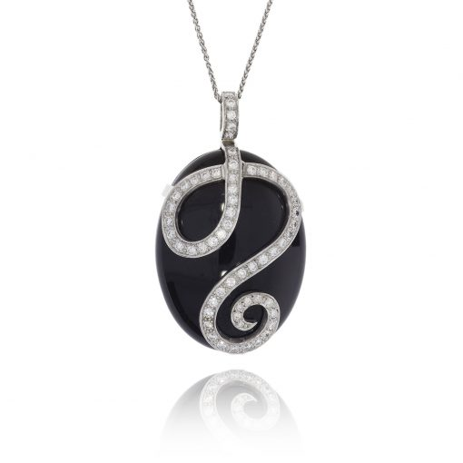Black onyx diamond pendant polished black pebble necklace diamond swirl diamond spiral 18ct white gold
