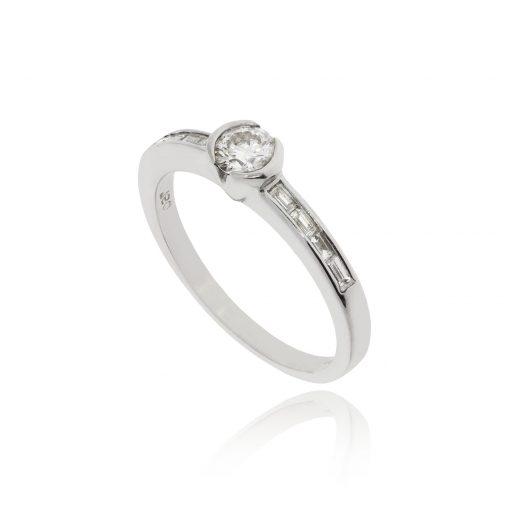 Unique baguette cut rectangle shoulder engagement ring