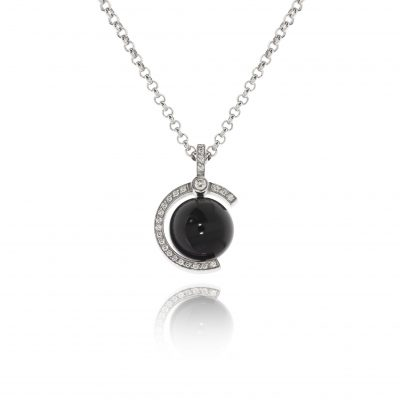 18ct white gold onyx diamond necklace statement unusual pendant