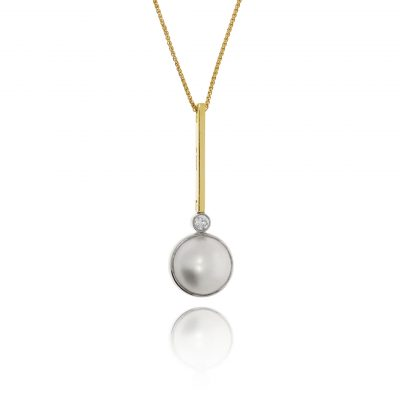 pearl diamond necklace 18ct yellow gold pendant contemoprary modern pendant