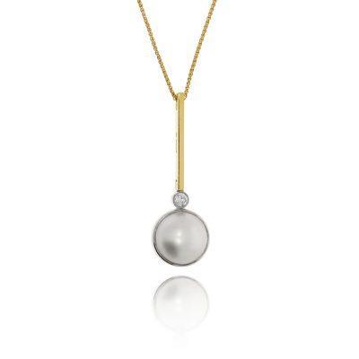pearl diamond necklace 18ct yellow gold pendant contemoprary modern pendant