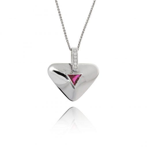 Futuristic white gold ruby diamond statement necklace