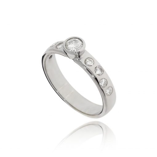 Rubover diamond ring diamond shoulders offset aysmetric quirky ring flush set