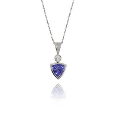 blue stone trillion cut tanzanite diamond pendant 18ct white gold