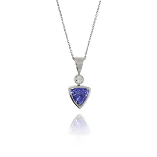 blue stone trillion cut tanzanite diamond pendant 18ct white gold