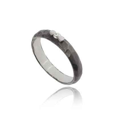 Oxidised black hammered band brushed finish textured band unusual ring subtle diamond