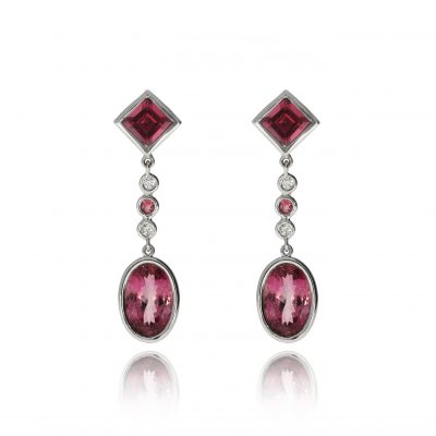 Tourmaline diamond drop studs earrings white gold pink stone earrings