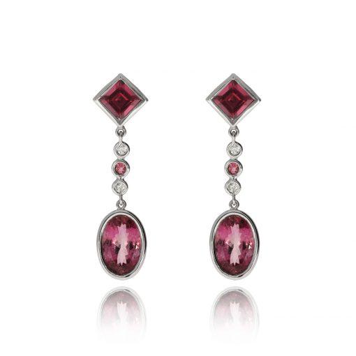 Tourmaline diamond drop studs earrings white gold pink stone earrings
