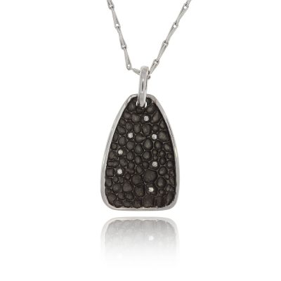 Textured cratered diamond black rhodium 18ct white gold statement necklace pendant hayseed chain
