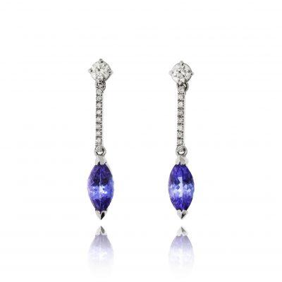Blue stone earrings tanzanite diamond halo drop earrings evening dress