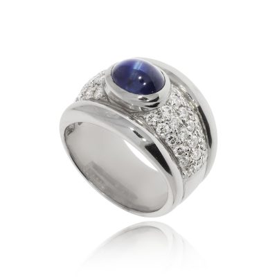 sapphire diamond cluster pave diamonds white gold cabochon cab ring