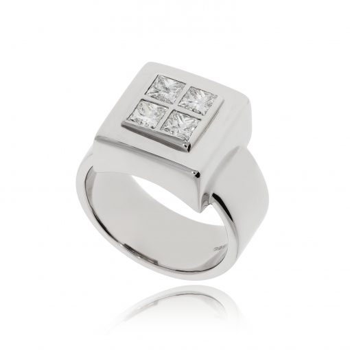 Chunky square ring white gold princess cut statement ring