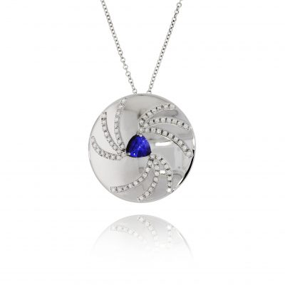 trillion cut sapphire diamonds pendant necklace polished white necklace