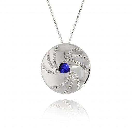 trillion cut sapphire diamonds pendant necklace polished white necklace