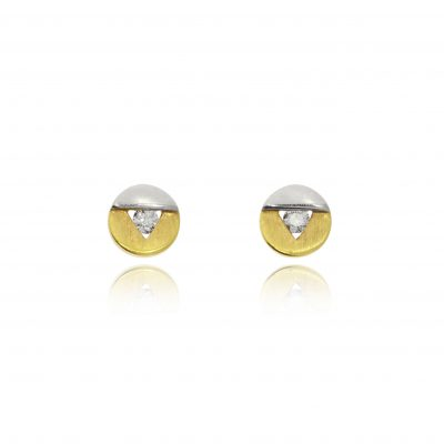 18ct yellow and white gold mixed metal studs brushed and polished diamond earrings