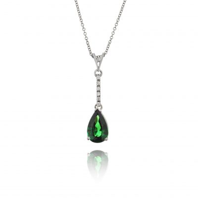 Green stone pendant pear cut tsavorite garnet diaomond coloured stone necklace 18ct white gold