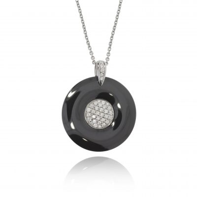 black ceramic pendant pave diamonds circle pendant shiny black polished ceramic