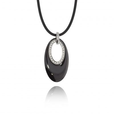 black ceramic pendant necklace diamond vegan environmentally friendly necklace