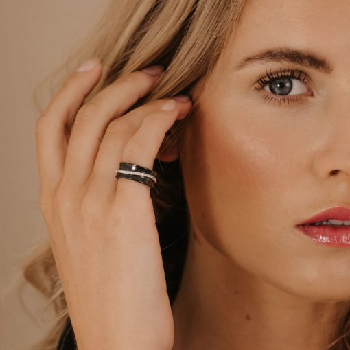 black ceramic ring diamond wave claw set unusual ring anticlastic comfort fit