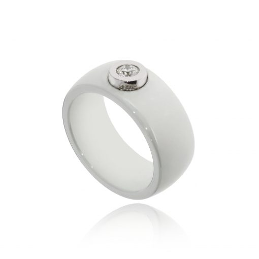 White ceramic diamond 18ct white gold ring band quirky white ring
