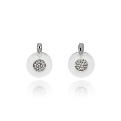 white ceramic drop earrings diamond earrings pave monochroms 18ct white gold