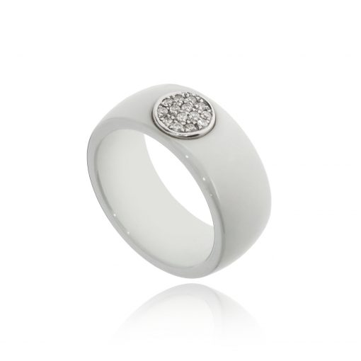 White ceramic diamond pave 18ct white gold white ring quirky ring diamond band