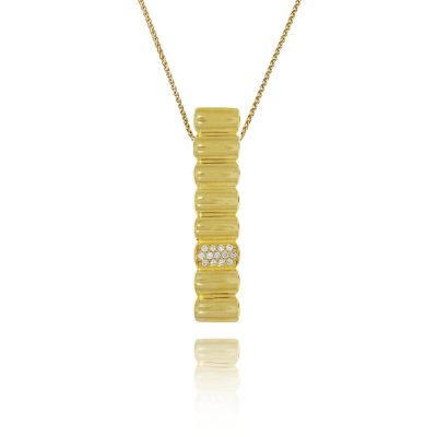 Quirky contemporary gold plated gilded silver diamond pendant gold bar