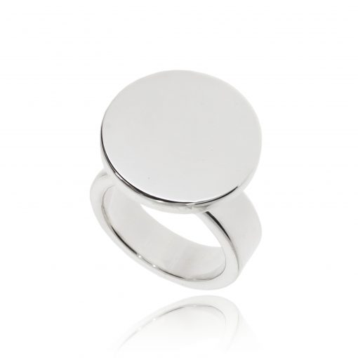 chunky statement silver ring polished unusual fashion ring