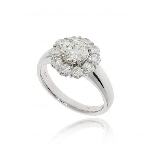 diamond cluster platinum ring diamond halo 1ct stone white stone statement ring engagement