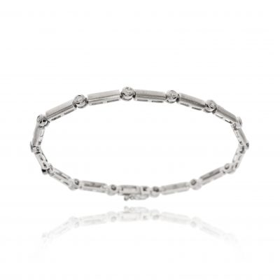 18ct white gold rub over set diamonds round brilliant tennis bracelet chain link