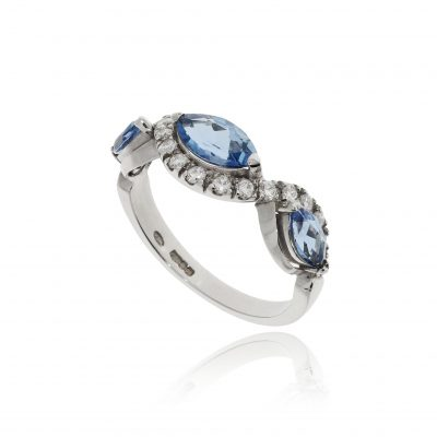 Aquamarine diamond ring aqua platinum diamond wave white ing blue stone half eternity marquise shape