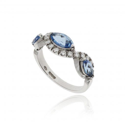 Aquamarine diamond ring aqua platinum diamond wave white ing blue stone half eternity marquise shape