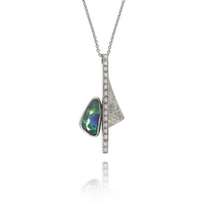 opal diamond necklace 18ct white gold pendant unusual fun statement necklace
