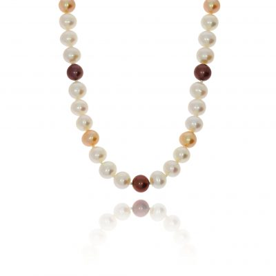 Coloured pearl necklace mixed colour freshwater pearls prown pearl sand pearl white pearl 18ct pearl