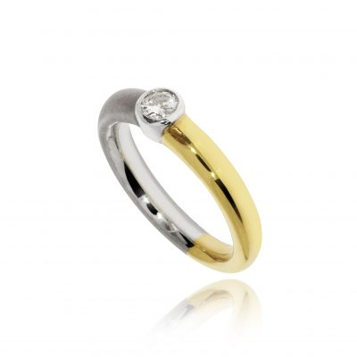Two colour tone yellow and white gold diamond engagement ring unusual unique weird